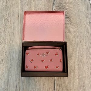 Coach wristlet pink with hearts